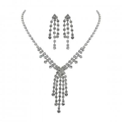 Brass With Rh Necklace+Earg Set Clear Crystal Soft, Clear