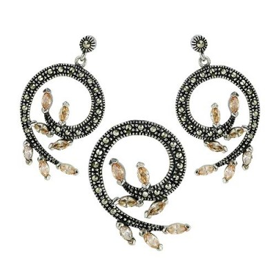 Marcasite Set '6' Swirl with 7 Champagne Cubic Zirconia Marquis