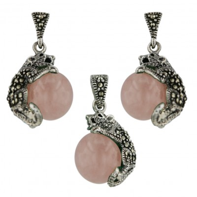 Marcasite Set 12mm Rosequartz Ball with Marcasite Cougar Oxidized
