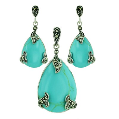 Marcasite Pendant 30X22mm+Earring 20X13mm Faux Turquoise Tear Drop with Marcasite L