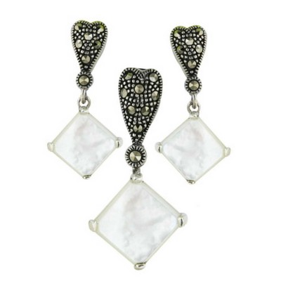 Marcasite Pdnt17X17mm+Earring 13X13mm White Mother of Pearl Rhombus Cabo
