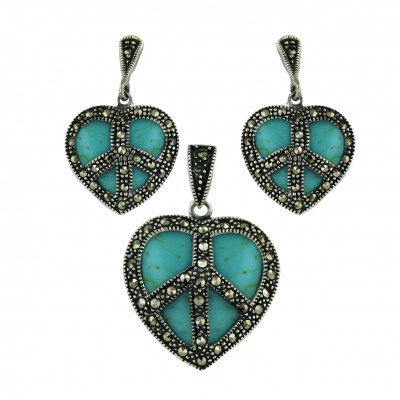 Marcasite Set Faux Turquoise Heart with Peace Symbol