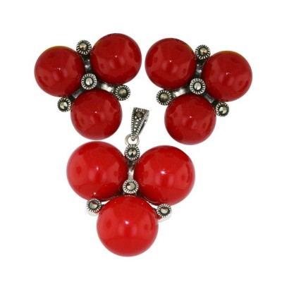 Marcasite Pendant (12mm) +Earg (10mm) Set Triple Red Coral K62 with