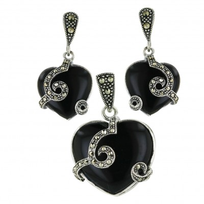 Marcasite Pdnt22mm+Earring 15mm Onyx Heart with Oxidized Rope S