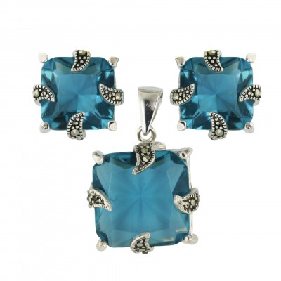 Marcasite Pendant 17X17mm+Earring 13X13mm Blue Topaz Glass Square