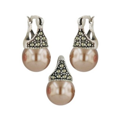 Marcasite Set ( 2A Swiss Marcasite) 10mm Latch Navajo White Pear