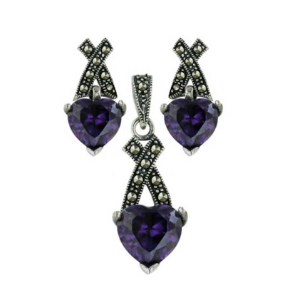 """Marcasite Set Amethyst Cubic Zirconia Heart with Pave Marcasite """"X"""" Top"""