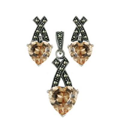 """Marcasite Set Champagne Cubic Zirconia Heart with Pave Marcasite """"X"""" Top"""