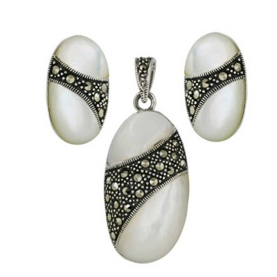 Marcasite Set 2 Dimensional White Mother of Pearl Oval with Pave Marcasite Ctr