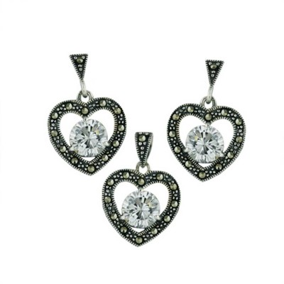 Marcasite Set Earring+Pendant Open Heart with Clear Cubic Zirconia 3-Prong