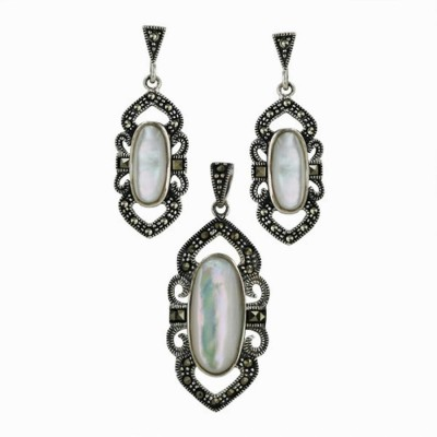 Marcasite Set Earring+Pendant Triangular Post with Open Marcasite+Oval Be