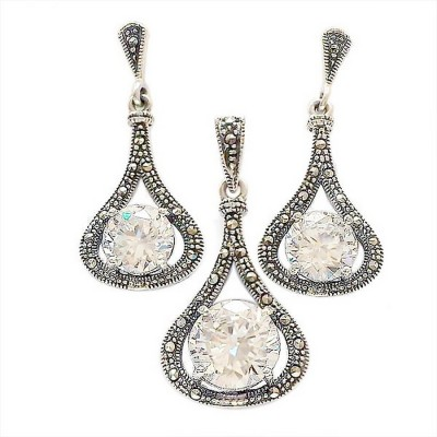Marcasite Set Rd Clear Cubic Zirconia with Marcasite Outline Teardrop