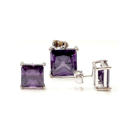 Sterling Silver Pendant 10X10mm+Earring 8X8mm Amethyst Cubic Zirconia Square Stud