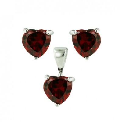 Sterling Silver Set Earring+Pendant Heart Stud Garnet Cubic Zirconia 6mm