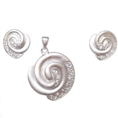 Sterling Silver Pendant 23mm+Earring 13mm Gold Tone Swirl with Clear Cubic Zirconia--R