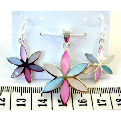 Sterling Silver Set 6 Blue,Pink,White Mother of Pearl Marquis Petals Flower