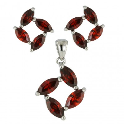 Sterling Silver Set 4 Garnet Cubic Zirconia Marquis--E-coated/Nickle Free--