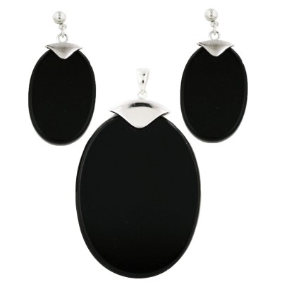 Sterling Silver Pendant (40X30mm) +Earg (24X16mm) Sets Oval Onyx