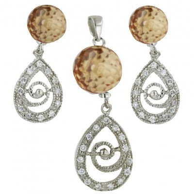 Sterling Silver Pendant (10mm) +Earg (8mm) Sets Champagne Cubic Zirconia Ball+Clear Cubic Zirconia Ope