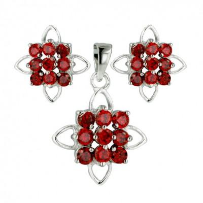 Sterling Silver Set 9Pcs Garnet Cubic Zirconia Open Flower-E-Coated