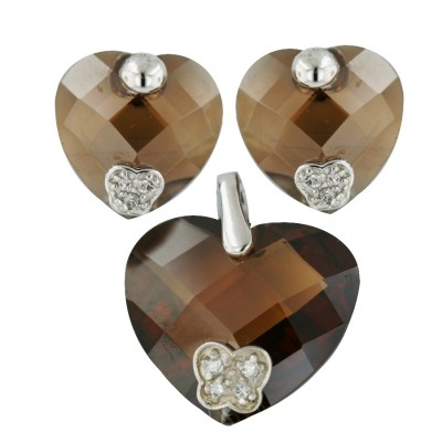 Sterling Silver Pdt 20mm Earring 14mm Set Coffee Chess Cut Heart with