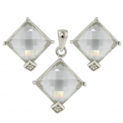 Sterling Silver Pendant+Earring 11X11mm Clear Chess Cut with Clear Cubic Zirconia Bezel Se