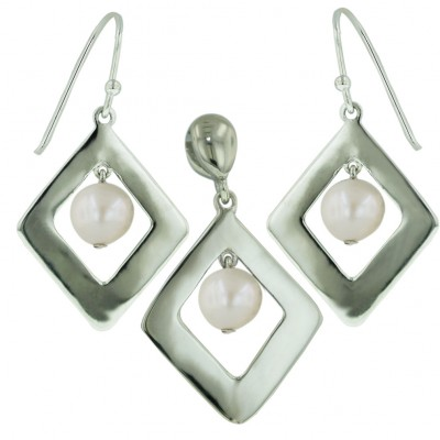 Sterling Silver Set Plain Open Rhombus with White Fresh Water Pearl Drop