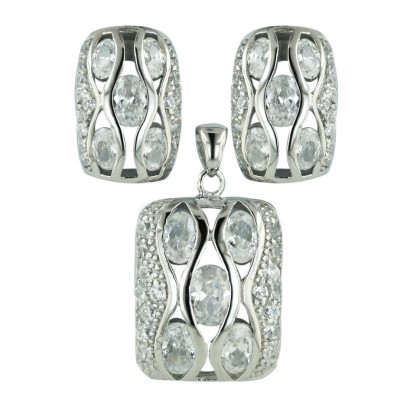 Sterling Silver Pendant 21X17mm+Earring 18X12mm Cushion Clear Cubic Zirconia Oval with
