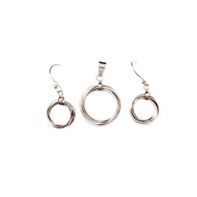 Sterling Silver Set 5 Plain Rings--Rhodium Plating--