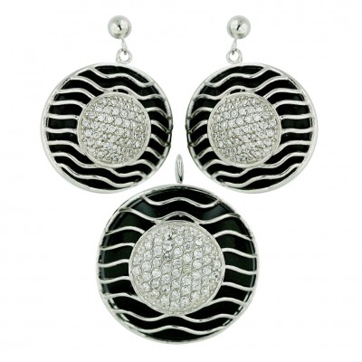 Sterling Silver Pendant (27mm) +Earg (22mm) Round Onyx Wavy Lines with
