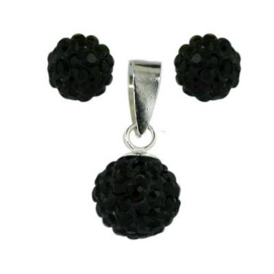 Sterling Silver Pendant (8mm) +Earg (6mm) Set Black Crystal Fireball