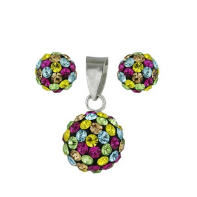 Sterling Silver Pendant (8mm) +Earg (6mm) Set Multicolor Crystal Fireball-