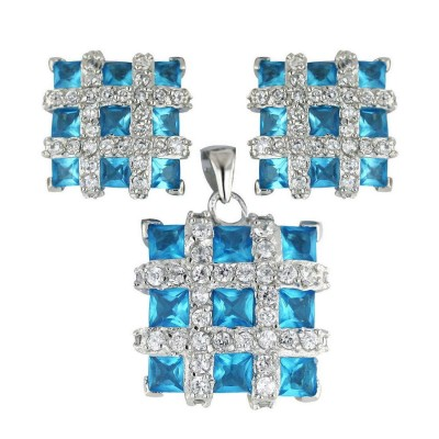 Sterling Silver Pendant 17X17mm+Earring 13X13mm Square 3 Pcs Blue Topaz