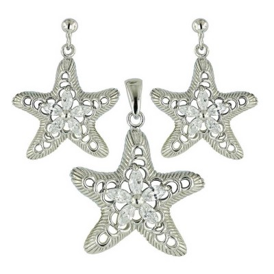 Sterling Silver Set 5 Pcs Clear Cubic Zirconia Marquis with Brushed Starfish--Rhodium Plating