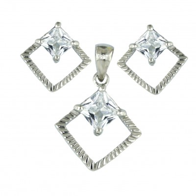 Sterling Silver Set 8mm Clear Cubic Zirconia Rhombus Princess Cut with Open Twist