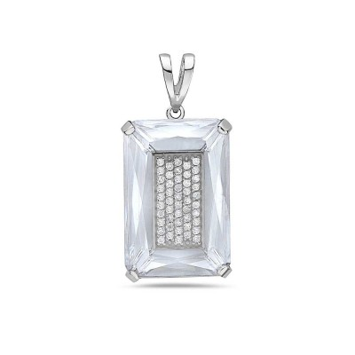 Sterling Silver PENDANT 32X22MM  CLEAR Cubic Zirconia RECTANGULAR WITH 4 PRONG