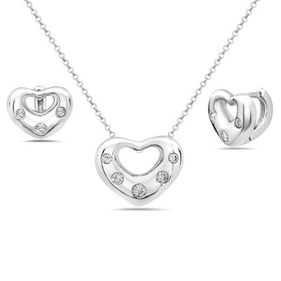 Sterling Silver Pendant 22mm+Earring 15mm Clear Cubic Zirconia Heart--Rhodium Plating/Nickle Free--
