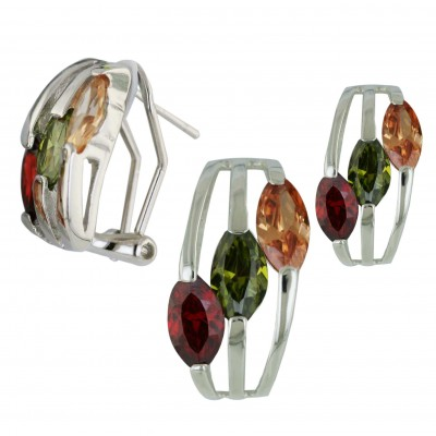Sterling Silver Set 3 Pc Garnet +Olivine+Champagne Cubic Zirconia Marquis--Rhodium Plating/Nickle Free--