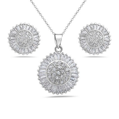 Sterling Silver Pendant+Earring Clear Cubic Zirconia Round with Spiky Rays Around