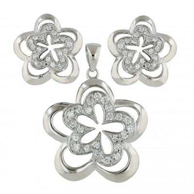 Sterling Silver Pendant 23X23mm+Earring 16X14mm Silver+Clear Cubic Zirconia Open Flower