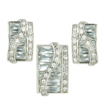 Sterling Silver Pendant 19X13mm+Earring 19X16mm Clear Cubic Zirconia Baguette Square with