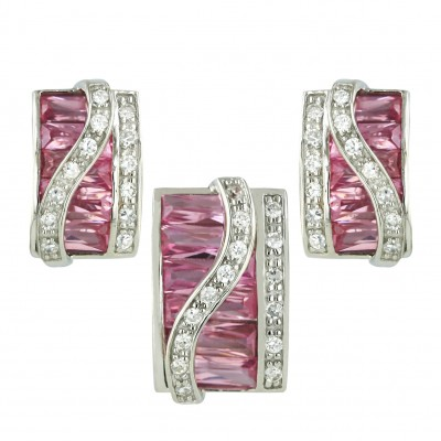 Sterling Silver Pendant 19X13mm+Earring 19X16mm Pink Cubic Zirconia Baguette Square with