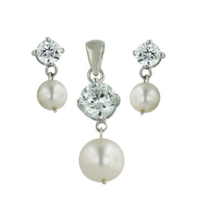 Sterling Silver Pendant (6.5mm) +Earg (4.5mm) Set Clear Cubic Zirconia Top with Fresh Water Pearl Dr