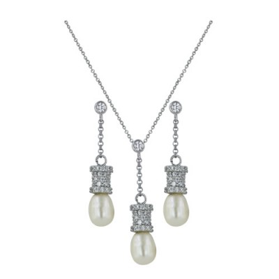 Sterling Silver Set Earring+Pendant 17mm Chain+8mm Fresh Water Pearl+Cylinder with Clear