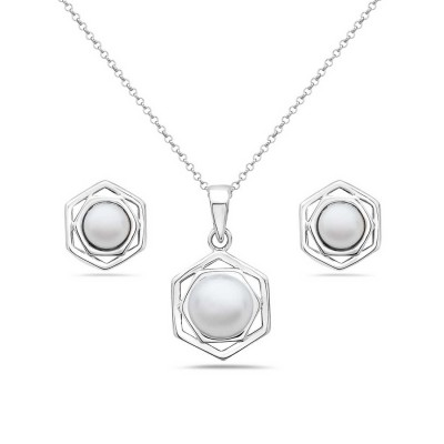 Sterling Silver Set Earring and Pendant Hexagon 8mm Potato Fres