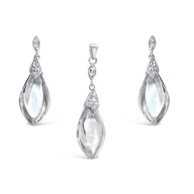 Sterling Silver Set Clear Smooth Cubic Zirconia Drop with 1mm Clear Cubic Zirconia on Top