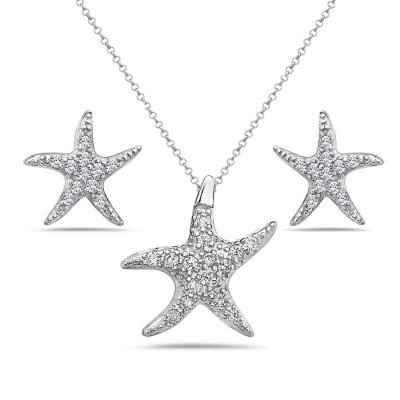 Sterling Silver Set Clear Cubic Zirconia Starfish
