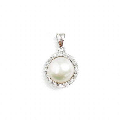 Sterling Silver PENDANT 10MM Fresh Water Pearl CENTER CLEAR Cubic Zirconia SURROUND