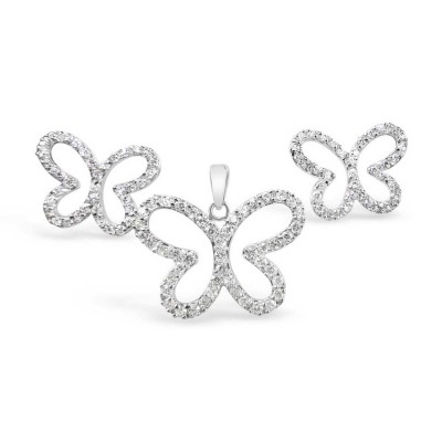 Sterling Silver Set Butterfly Clear Cubic Zirconia Outline