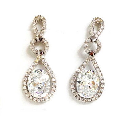 Sterling Silver Earring Clear Cubic Zirconia Tear Drop Dangle with Clear Oval Cubic Zirconia